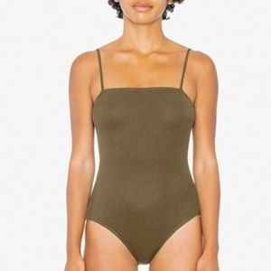 AA square tank bodysuit green Small 2x2 ribbed